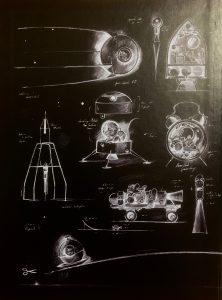 weiße Skizzenzeichnungen von mausigen-Flugobjekten auf schwarzem Hintergrund