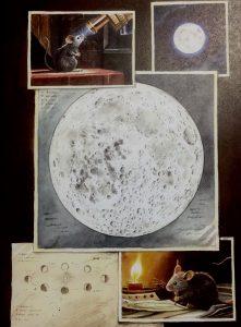 Die kleine Forschermaus beobachtet den Mond ganz genau, erkennt seinen Lauf um die Erde, macht Skizzen und schaut immer wieder durch ihr Teleskop in den Himmel.
