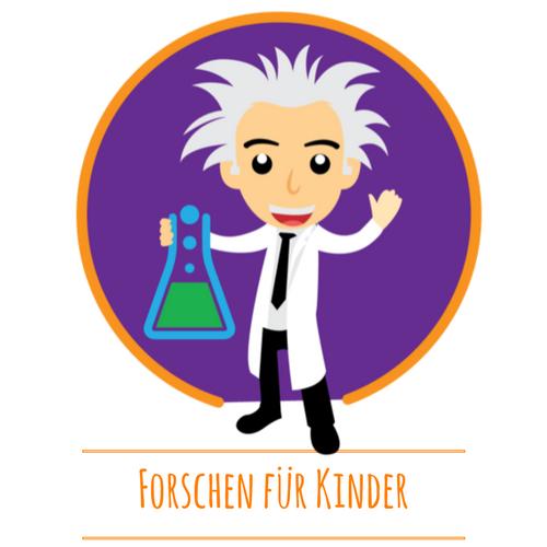 Forschen für Kinder Logo mit lustigen Wissenschaftler. In der Hand hält er einen Erlenmeyerkolben mit grüner Flüssigkeit. Er trägt einen weißen Kittel.