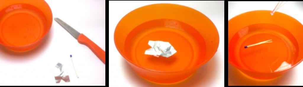 """Drei Bilder sind zu sehen. Auf allen ist eine orange farbenen Wasserschale gezeigt. Im ersten sieht man zusätzlich ein Messer, ein Alufolienboot und ein Streichholz. Im zweiten schwimmt das Aluboot. Im dritten schwimmt das Streichholzboot. Der Antrieb """"Alkohol"""" wird mit Hilfe einer Pipette auf das Heck des Bootes geträufelt."""
