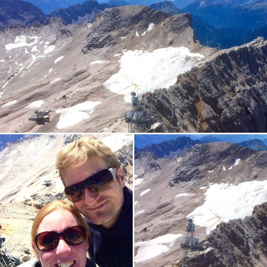 Auf drei Bildern sind der südliche und nördliche Teil des Schneeferner Gletschers zu sehen. Der südliche Gletscher besteht nur noch aus kleinen Eisfetzen, während der nördliche Gletscher noch aus zusammenhängenden Eisflächen besteht.