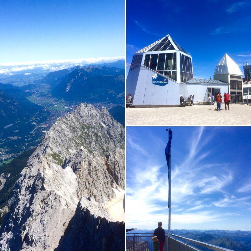 Drei Bilder zeigen, was auf der Aussichtsplattform der Zugspitze möglich ist: ein wunderschöner Blick über das Bergpanorama, Museen wie das Schneekristall, freier Blick über die europäische Weite.