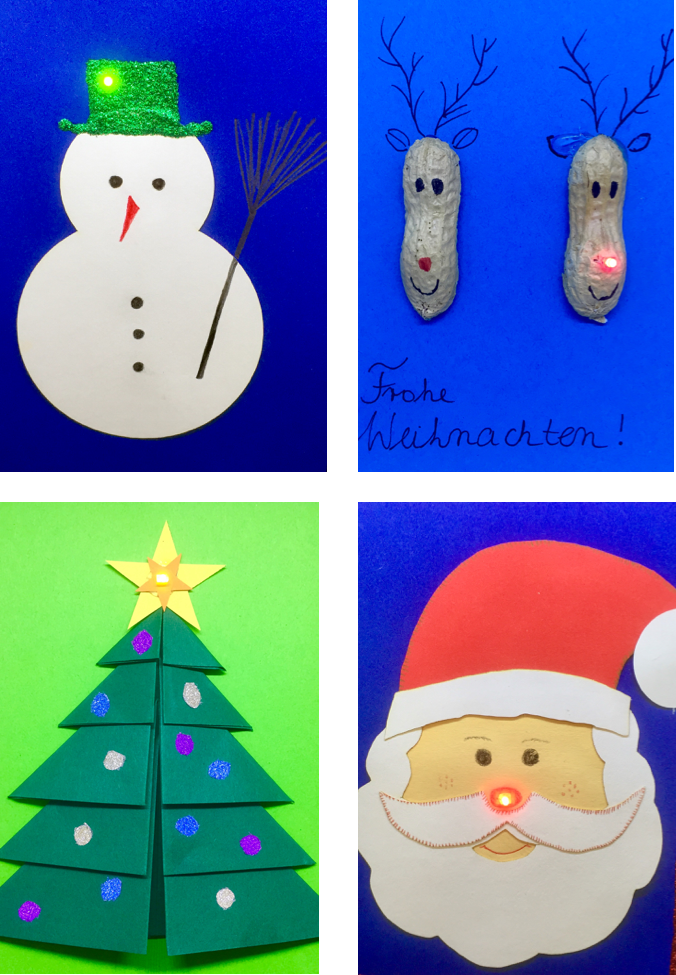http://blog.forschenfuerkinder.de/2017/12/15/leuchtende-weihnachtskarten/ Weihnachtsmann Schneemann Rentier Tannenbaum leuchten LED