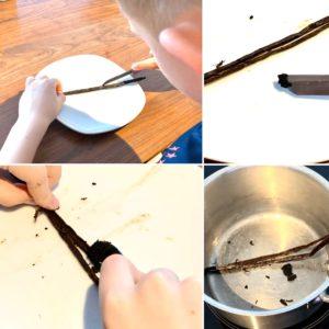 Forschen für Kinder Crème brûlée: Auskratzen einer Vanilleschote wird in einer Bildcollage gezeigt.