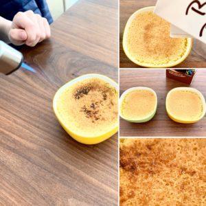 Forschen für Kinder Crème brûlée: Bildcollage zum Flambieren der Nachtische. Brauner Zucker auf der hell-gelben Oberfläche wird mit Hitze zu bräunlichem Karamell.