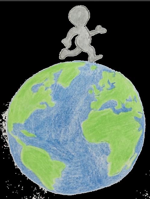 Bild einer Erde mit einem Menschen der auf der Erde läuft. Forschen für Kinder