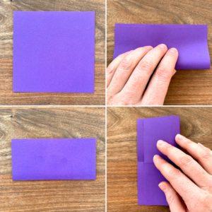 Bilder für die ersten Faltschritte auf dem Weg zum Lesezeichen. Zweimal wird das Blatt halbiert & wieder aufgeklappt.