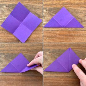 Bilder für die zweiten Faltschritte auf dem Weg zum Lesezeichen. Aus einem Viereck wird ein Dreieck.