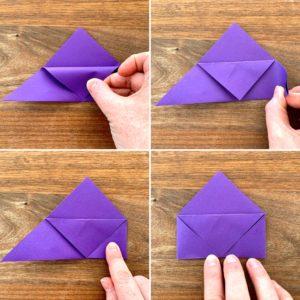 Bilder für die dritten Faltschritte auf dem Weg zum Lesezeichen. Die Spitze des oberen Blattes wird zu einem kleinen Dreieck nach unten gefaltet.