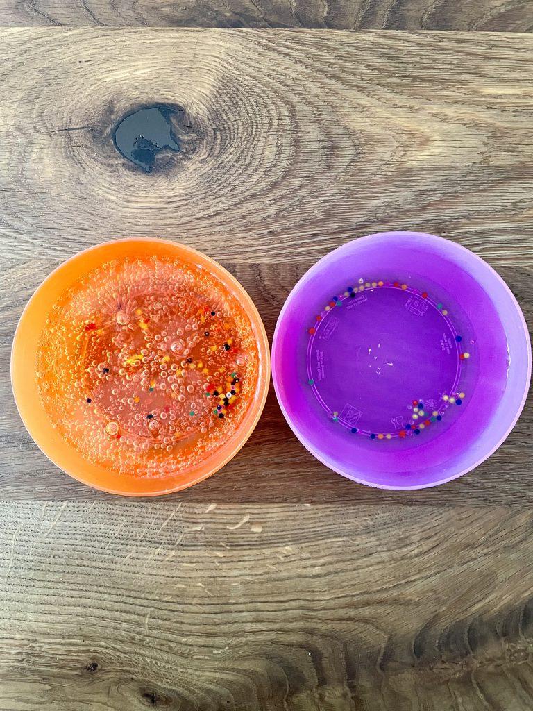 Die Wasserperlen sollen aufquellen. Dazu sind sie in Tonicwasser (orangene Schale) und Wasser (lilane Schale) eingefüllt.